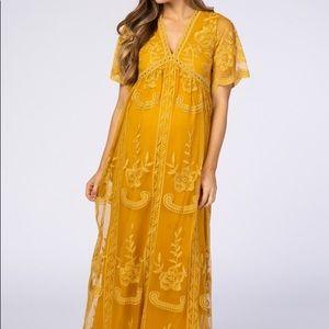 PinkBlush Mustard Lace Mesh Maternity Maxi Dress S
